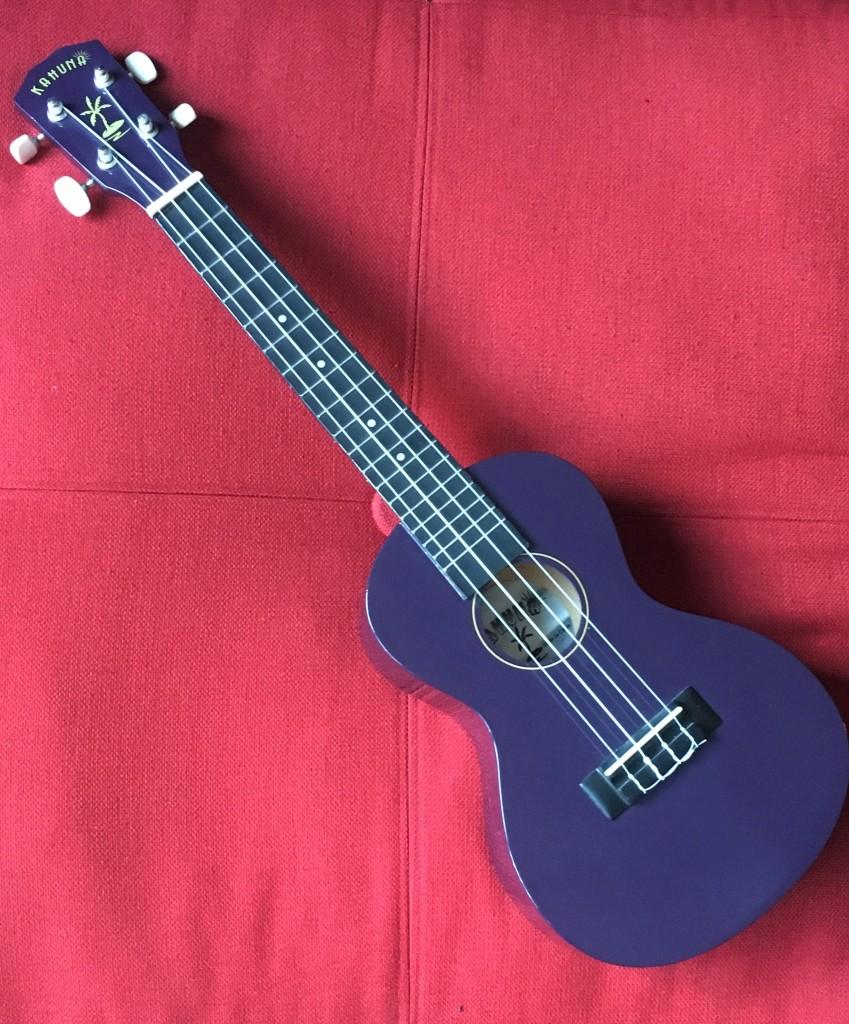 Purple ukulele on a read pillow