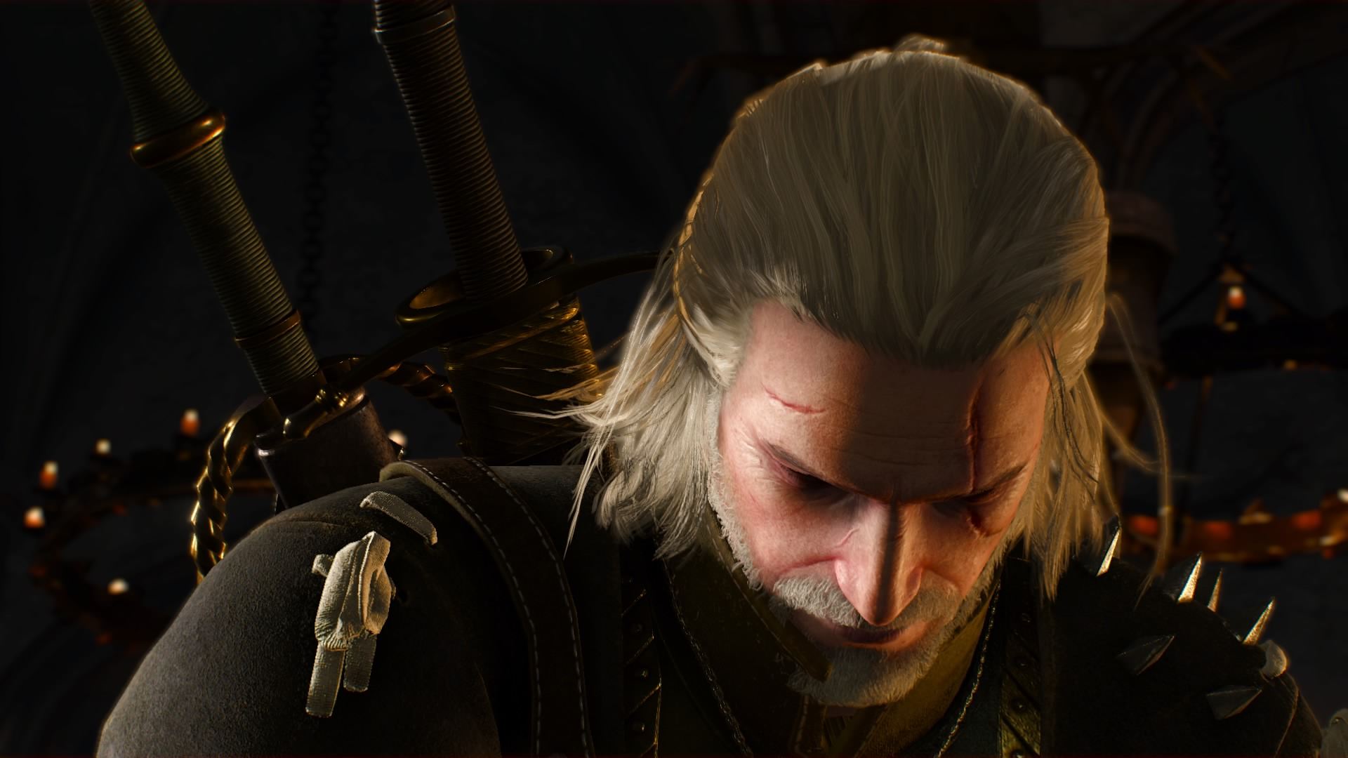 A close up of Geralt as he looks down. From The Witcher 3 video game.