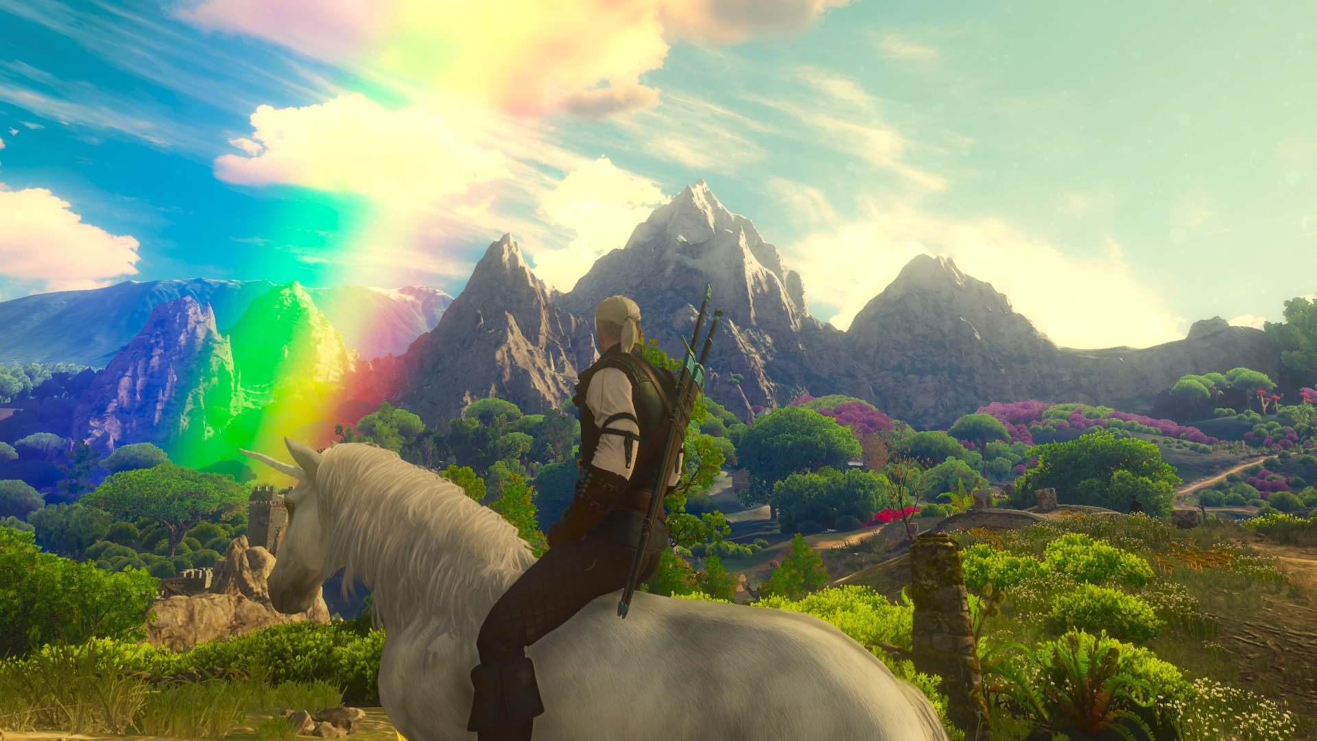 A man, Geralt, with long white hair pulled back, sits on a unicorn. A rainbow crosses the sky with mountains in the background. From The Witcher 3 video game.