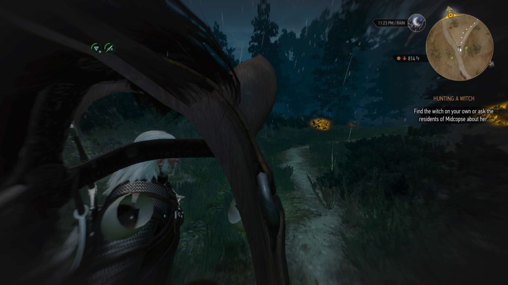 Screenshot of The Witcher 3: Wild Hunt where you can see through Roach the horse's head