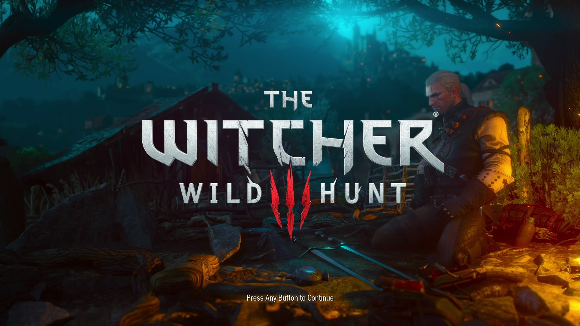 """Geralt kneels by a campfire at night. The title card is overlaid with the game name """"The Witcher 3: Wild Hunt"""""""
